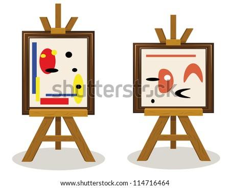 a vector cartoon representing two modern art pieces - stock vector