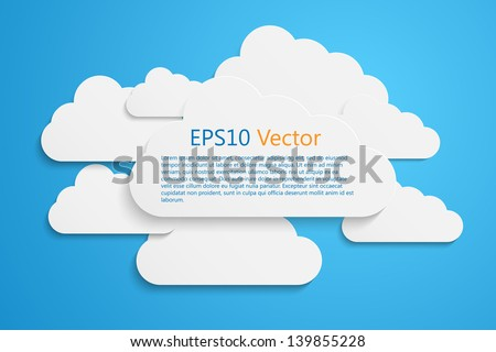 a vector clouds on blue - stock vector