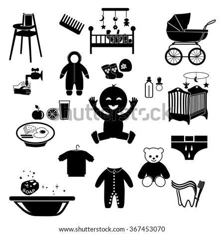 A vector collection of Accessories for Mom and Baby : silhouettes of tools  - stock vector