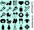 A vector collection of Accessories for Mom and Baby : silhouettes of tools (Black and White) - stock vector