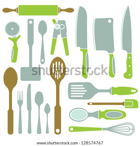 A vector collection of simple kitchen utensil icons.