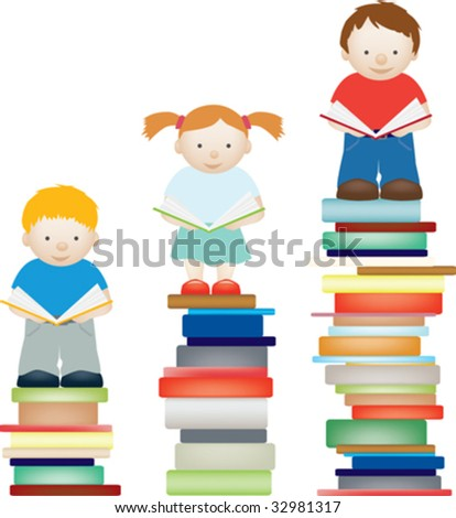 A vector concept illustration of children improving by reading