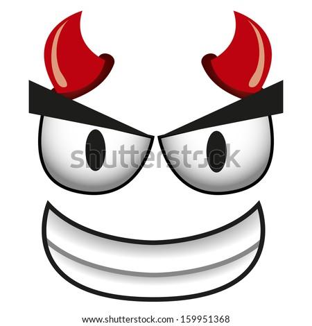 A Vector Cute Cartoon Devil Smilling Face - stock vector