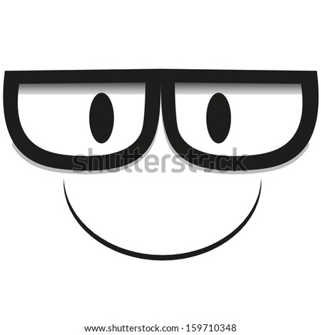 A Vector Cute Cartoon White Face With Glasses - stock vector