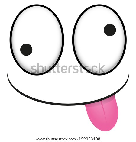 A Vector Cute Cartoon White Face With Tongue Out - stock vector