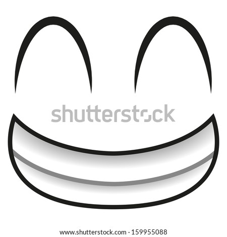 A Vector Cute Cartoon White Happy Face - stock vector