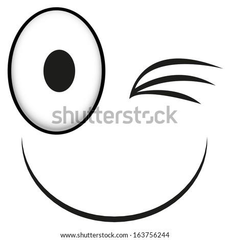 A Vector Cute Cartoon White Winking Face - stock vector