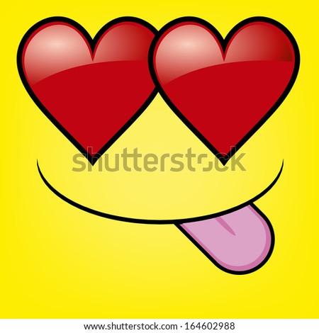 A Vector Cute Cartoon Yellow Face In Love - stock vector