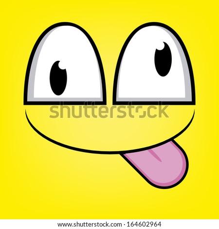 A Vector Cute Cartoon Yellow Face With Tongue Out - stock vector
