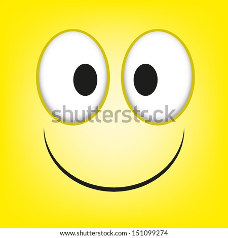 A Vector Cute Cartoon Yellow Happy Face - stock vector