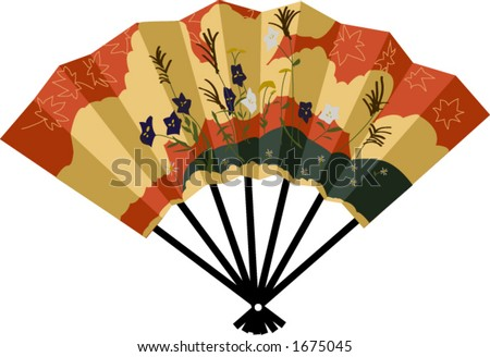 A vector drawing of a Japanese fan. - stock vector