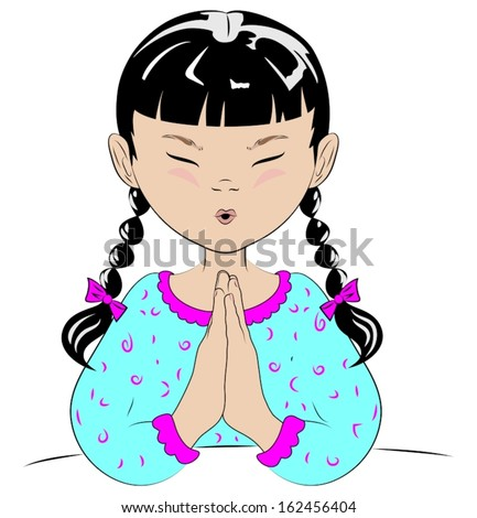 A vector drawing of a young girl with pigtails, in her pajamas, saying her prayers before she goes to bed. - stock vector