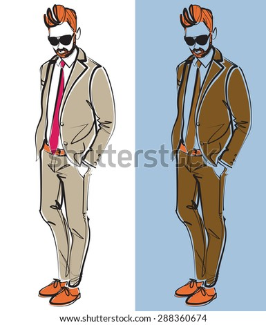 A vector fashion illustration of an elegant man in a suit. Two color versions. - stock vector