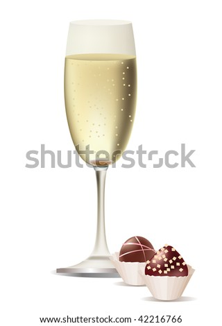 A vector glass of champagne and sweets - stock vector