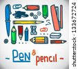 A vector graphic illustration of pencils and pens and office items - stock vector