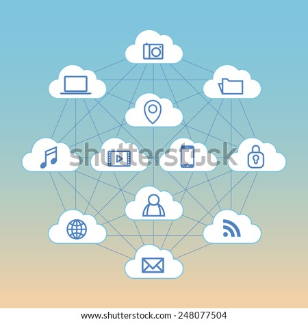 A vector graphic of computer icons means cloud service(mail, security, map, picture, photo, movie, sound, song, folder, book, communication, talk, globe, document, SNS, note, book, mobile)   - stock vector