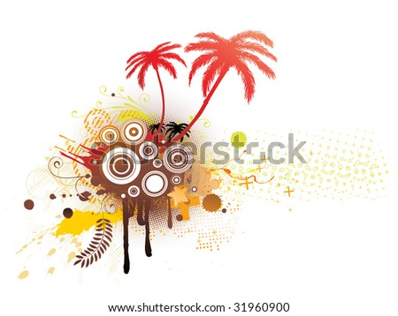 A vector illustrated decorative elements with palm trees and Grunge circles