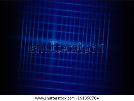 A vector illustrated futuristic background resembling blue motion blurred neon light curves - stock vector