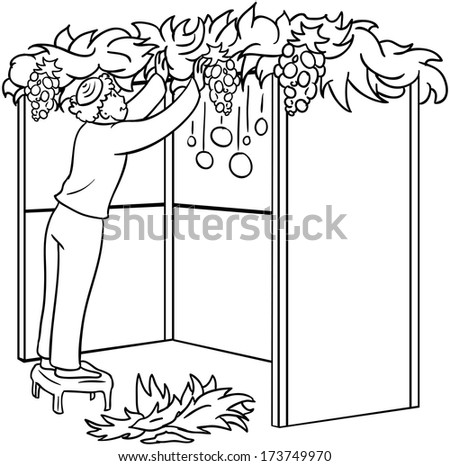 A vector illustration coloring page of a Jewish guy standing on a stool and building a Sukkah for the Jewish holiday Sukkot.  - stock vector