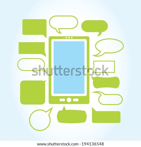 A vector illustration depicting a cell phone with unlimited texting. Suitable for infographics and other modern graphics. - stock vector