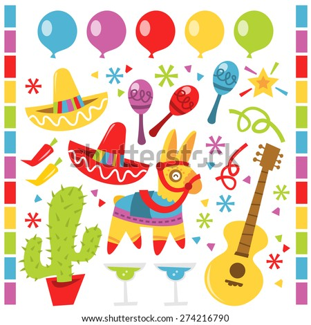 A vector illustration features retro Mexican party design elements against a white background.  There are red and yellow sombrero party hats.  There is a cactus in a red pot.  - stock vector