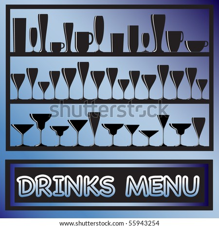 A vector illustration for a drinks menu with glass silhouettes - stock vector