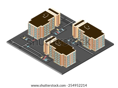 A vector illustration icon of modern apartment with car park and cars. Isometric Apartment Complex. Isometric Modern Apartment Buildings. - stock vector
