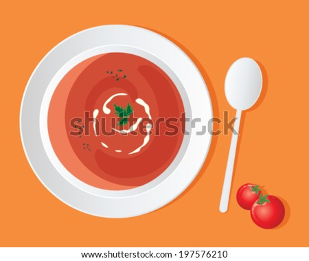 a vector illustration in eps 10 format of a a bowl of delicious tomato soup with cream swirl and coriander garnish on an orange background - stock vector