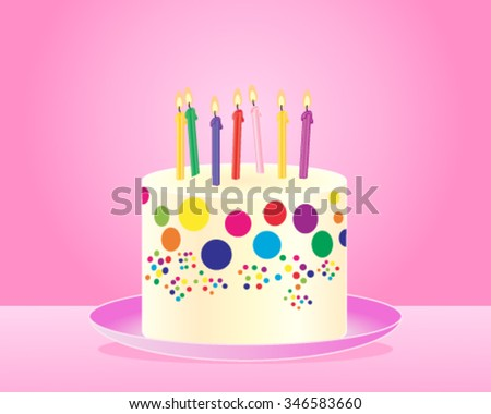a vector illustration in eps 10 format of a classic colorful birthday cake with candles and cream frosting on a pink plate and background