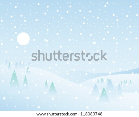 a vector illustration in eps 10 format of a classic winter landscape with fir trees hills white sun and a blue sky with falling snowflakes - stock vector