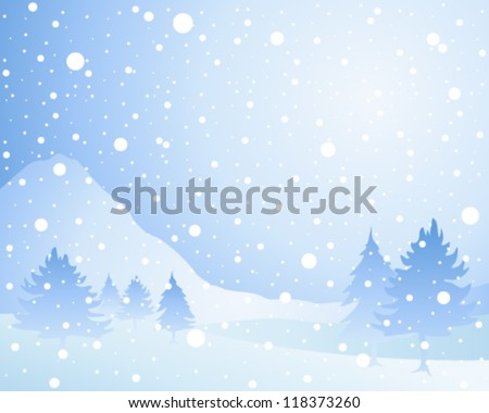 a vector illustration in eps 10 format of a cold winter seasonal christmas landscape with misty fir trees in a snow shower under an icy blue sky - stock vector