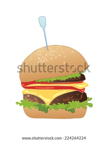 a vector illustration in eps 10 format of a delicious american slider burger in a bun with all the trimmings on a white background - stock vector