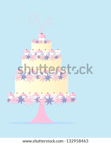 a vector illustration in eps 10 format of a fancy three tier celebration cake in a greeting card design with flowers and cupcakes on a baby blue background with space for text