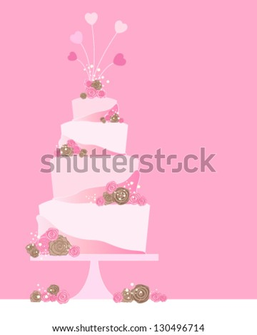 a vector illustration in eps 10 format of a four tier celebration cake greeting card with roses and heart decoration on a pink background with space for text
