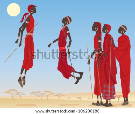 a vector illustration in eps 10 format of a group of dancing masai men dressed in traditional clothing with jewelery and canes in an east african landscape under a blue sky - stock vector