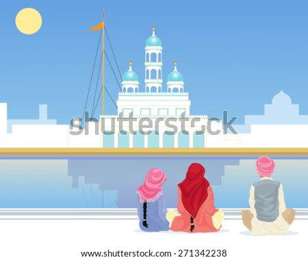 a vector illustration in eps 10 format of a gurdwara with a sarovar and pilgrims sitting on the marble walkway under a blue sky in the punjab - stock vector