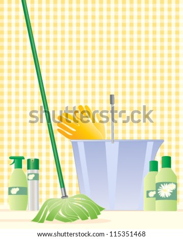 a vector illustration in eps 10 format of a modern mop with a plastic bucket rubber gloves and cleaning products with a light yellow gingham background
