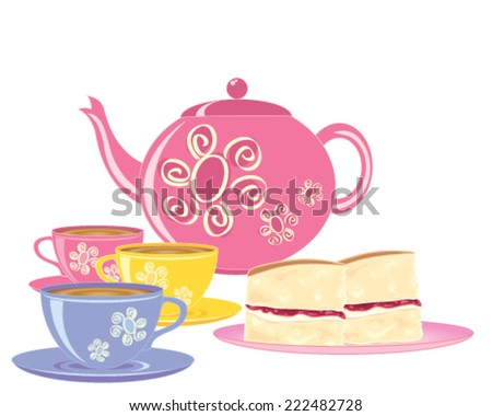 a vector illustration in eps 10 format of a pink teapot with matching tea cups and a plate of slices of victoria sponge cake on a white background