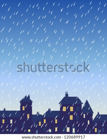 a vector illustration in eps 10 format of a rainy day in a city with various shaped buildings and houses with lighted windows under a stormy sky