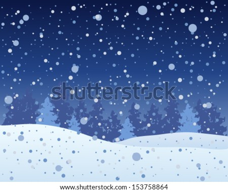 a vector illustration in eps 10 format of a snowy christmas time landscape with fir trees and a dark winter sky and snowflake shower