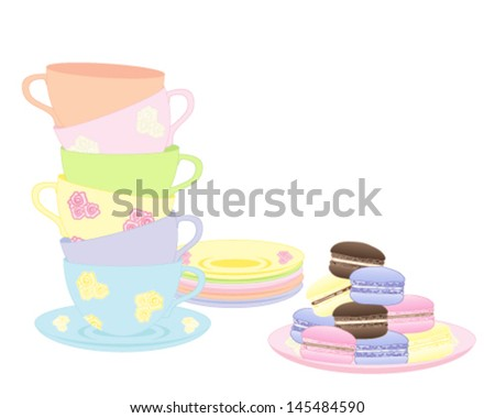 a vector illustration in eps 10 format of a stack of fancy cups and saucers with a plate of delicious colorful macaroons isolated on a white background - stock vector