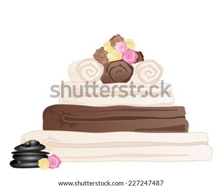 a vector illustration in eps 10 format of a stack of spa towels with rose and black pebble decoration on a white background