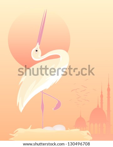 a vector illustration in eps 10 format of a stylized exotic bird in an elegant pose on a nest with mughal architecture and a setting sun - stock vector