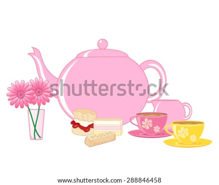a vector illustration in eps 10 format of a traditional english cream tea with teapot cups and cakes on a white background