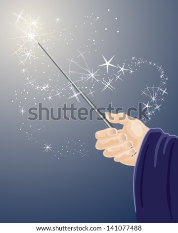 a vector illustration in eps 10 format of a wizards hand holding a magic wand with sparkles and stars on a dark blue background - stock vector