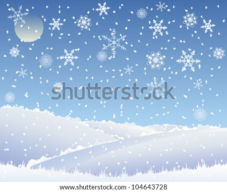 a vector illustration in eps 10 format of an abstract christmas landscape with patchwork fields covered with snow under a blue snowflake sky