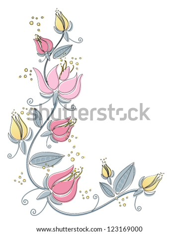 a vector illustration in eps 10 format of an abstract lily flower design with black line drawing and color isolated on a white background - stock vector