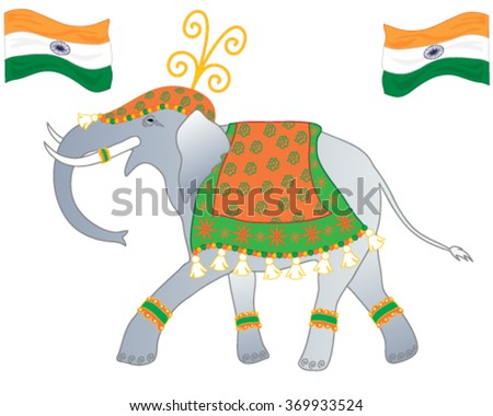 a vector illustration in eps 10 format of an elephant dressed up in the colors of the indian flag to celebrate republic day on a white background - stock vector