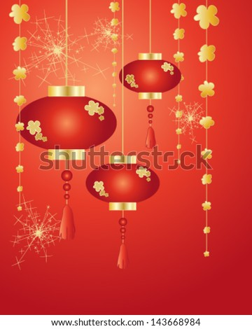 a vector illustration in eps 10 format of chinese new year lanterns decorations and fireworks on a red background in greeting card format - stock vector