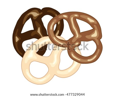 a vector illustration in eps 8 format of dark milk and white chocolate covered pretzel snacks on a white background in advert format
